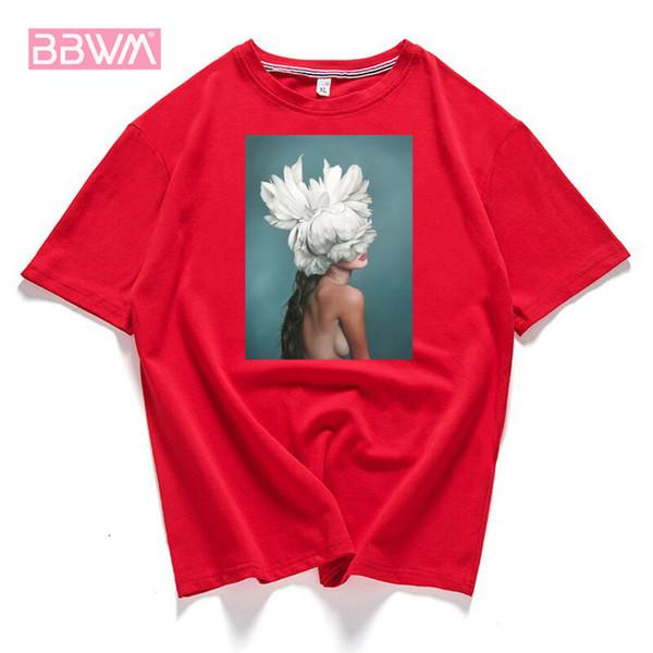 95% baumwolle blüte blume feder frauen t-shirt 2019 sommer kurzarm rundhals harajuku druck t casual fashion weiblich