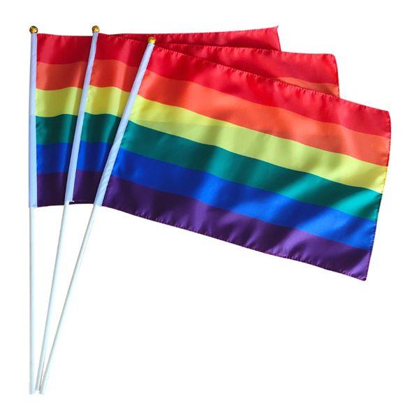 Gökkuşağı Eşcinsel Gurur Sopa Bayrak Bayrak Direği Ile 5x8 Inç El bayrak Waving Banner Altın Üst Kullanarak Tutamak Gökkuşağı Eşcinsel Gurur Bayrak BH1748 TQQ