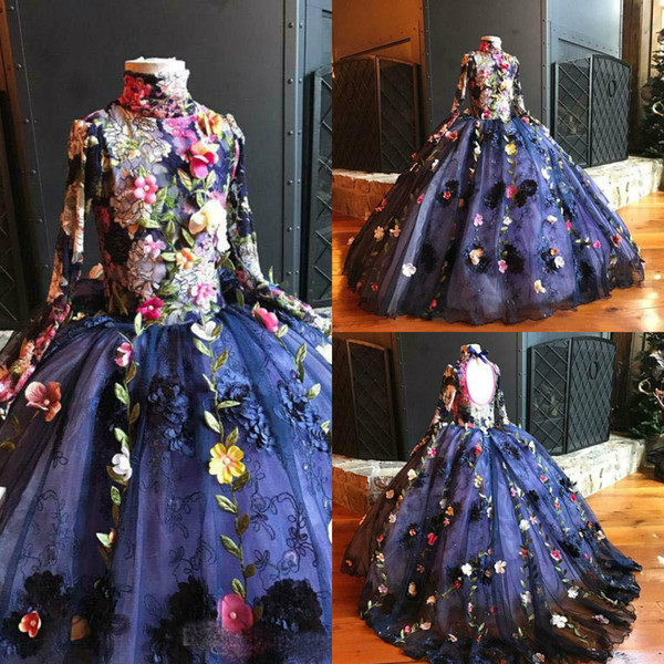 2019 Handmade Flower Girl Dresses High Collar Long Sleeves Ball Gown 3D Floral Appliques Girls Pageant Dress Formal Evening Prom Dresses