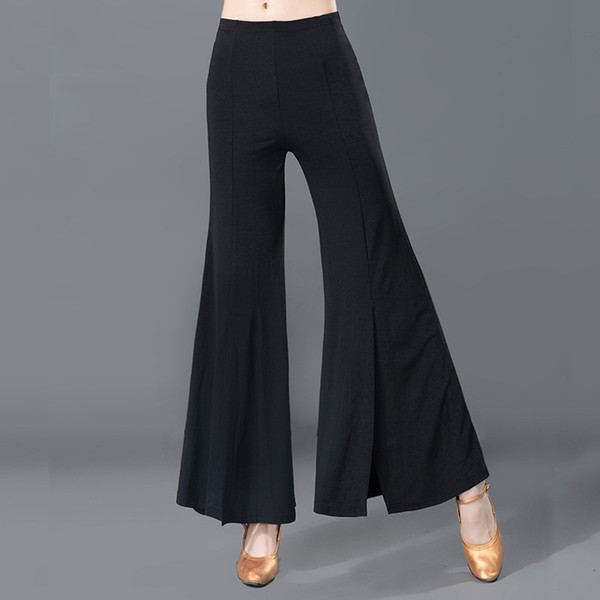 Adult High Waist Loose Pure Black Jag Trousers Lady's Samba Rumba Ballroom Latin Dance Training Pants Dancing Clothes For Women