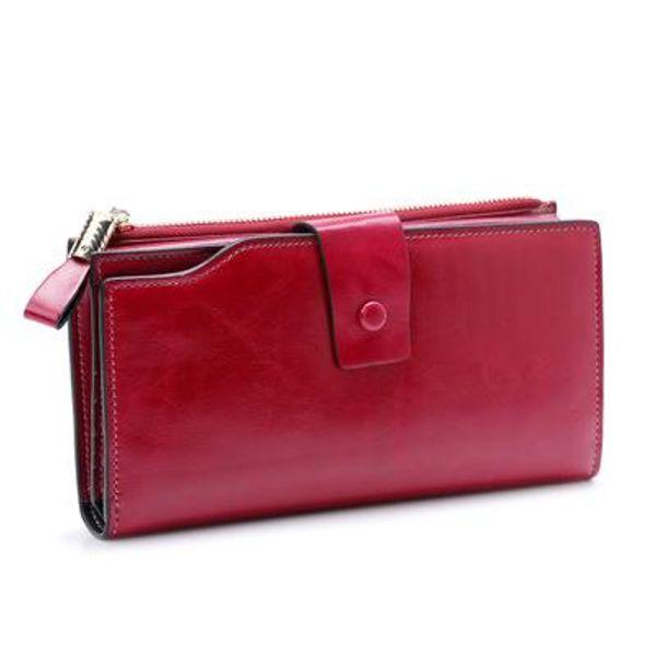 2018 top layer leather anti-RFID ladies wallet long Korean version of oil wax leather cowhide women's multi-card wallet