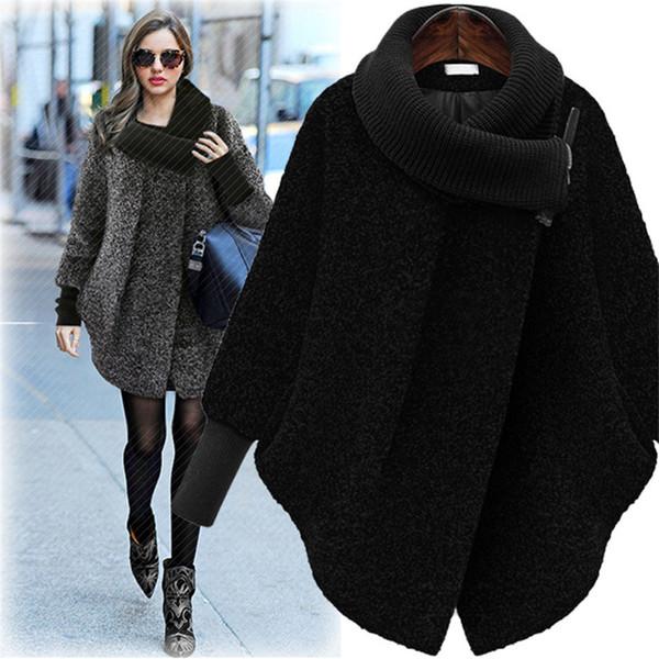 Large Size 5xl Damen Wolljacke Mantel 2019 Herbst Winter Wollmantel Strick Rollkragen Dickes Kaschmir Cape Weibliche Jacke