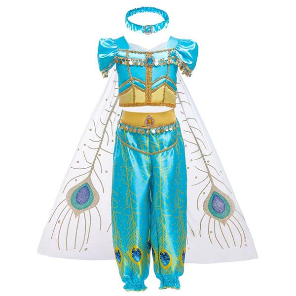 3 Stil Kız Giydirme Arap Prenses Yasemin Giydirme Kostüm Çocuk Kolsuz Pullu Cosplay Fantezi Giyim Kid Parti Fantezi