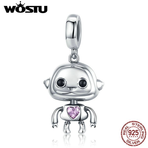 wholesale Genuine 100% 925 Sterling Silver Cute Robot Charm Fit Bracelet & Necklace Pendant Delicate Real S925 Jewelry Gift CQC924