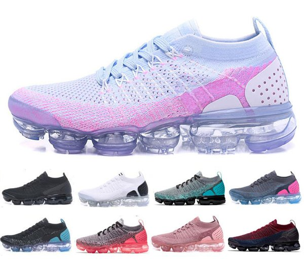 2018 New Designer Vapors 2.0 Knit Shoes black white blue Sports Running Shoes men women Fashion Air Cushion Jogging Walking Sneakers 36-45