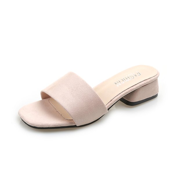 Summer Women Slippers Female Solid Color Square Med Heels Casual Shoes Woman Mules Flock Peep Toe Elegant Fashion Ladies Shoes