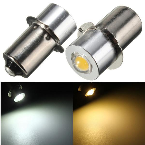 2 unids / lote P13.5S PR2 1W LED Bombilla de luz de linterna para el interior de la antorcha de la bicicleta Lámpara de punto Bombilla de alto brillo cálido / blanco DC3-18V / DC18V