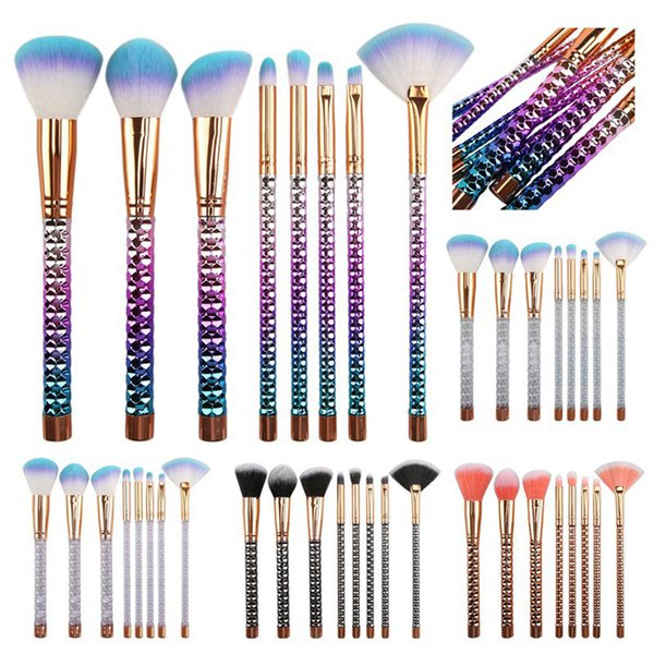 Glitter Makeup Brushes Set Foundation Powder Eye Shadow Eyeliner Lip Makeup Brush Professional Make Up Tools Kit 8pcs/set RRA597