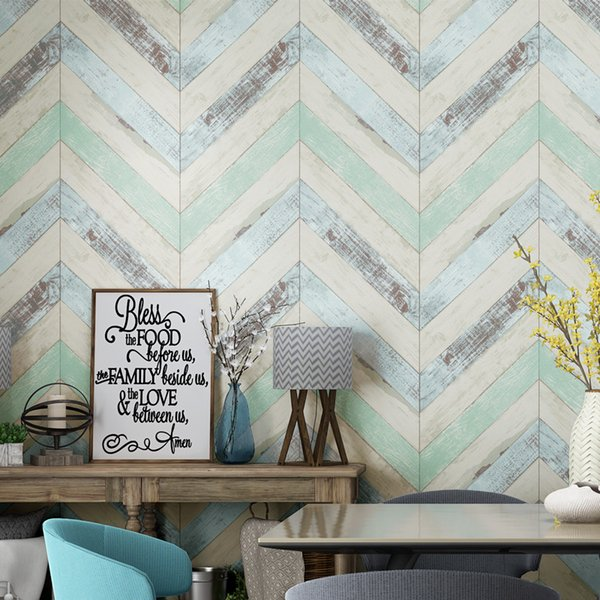 3D Vintage simple style imitation wood grain plank wallpaper Mediterranean TV background bedroom living room dining room wall