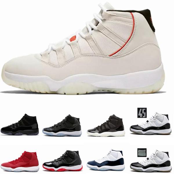 11 Hommes 11s Chaussures de basket-ball Nouveau Concord 45 Espace couleur Platinum Jam Jam Gym Rouge Gagner Comme 96 XI Designer Sneakers Hommes Sport Chaussures 4