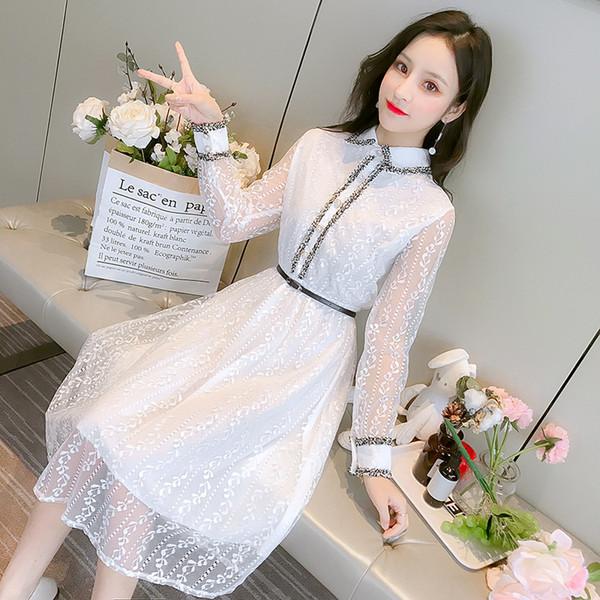 2019 new summer dress thin chiffon dress high waist slim base dresses lace flounce skirt evening dress