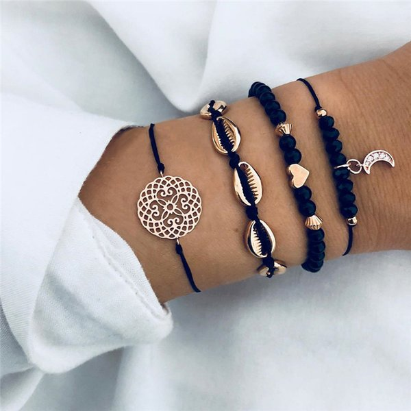 LETAPI Bohemian Flower Moon Charm Black Beaded Bracelets Sets For Women Fashion Chain Strand Bracelets Bangles Jewelry Gifts