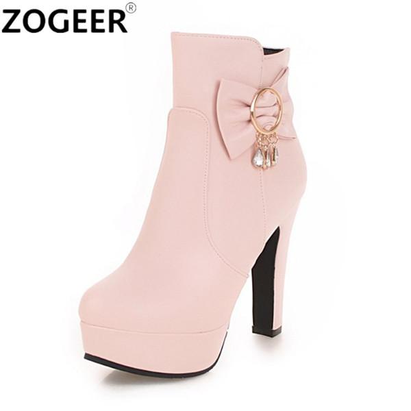 Bottines à la mode de nouvelles femmes sexy talons hauts Punk Platform femmes automne hiver femmes bottes Sweet White Pink Ladies Shoes