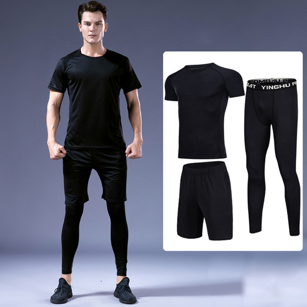 3 Pcs/set Men Sports Suit Compression Underwear Outdoor Running Jogging Clothes T Shirt Pants Gym Fitness Workout Tights Costume Q190517