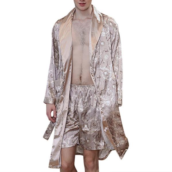 Homens Simulação De Seda De Impressão Pijama Lingerie Robe Roupão De Banho Roupão Homem De Duas Peças terno Masculino Sexy Hombre Robe Masculino verão