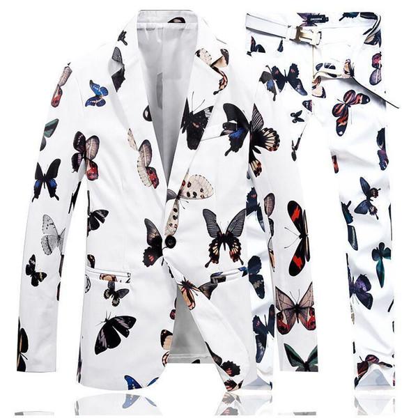 Pop2019 LEFT ROM Fall Men's Suits Jackets + Pants S M L XL 4XL Gentleman Elegant Men Suit Coats Black White Choice Blazer