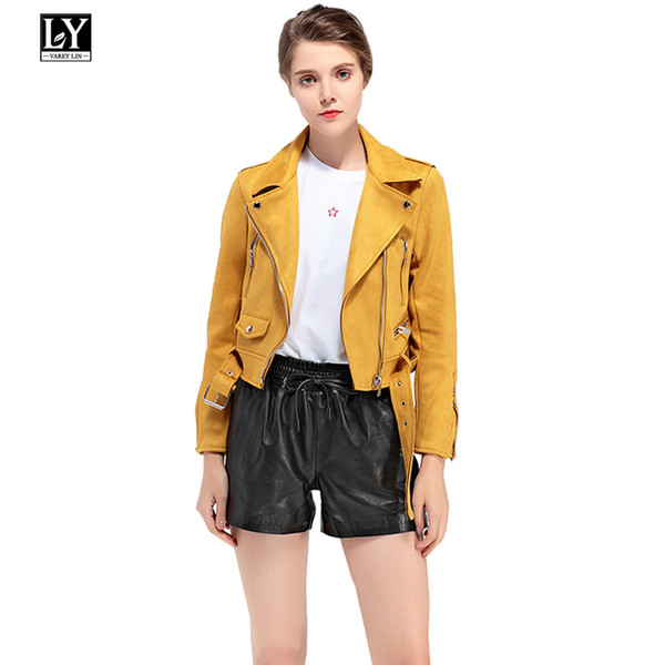 Ly Varey Lin Mujer Faux Soft Leather Suede Jacket Coat Biker Lady Turn-down Collar Zipper Chaqueta corta Rosa Verde Amarillo Abrigos