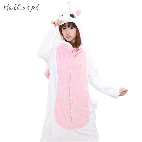 ostumes Accessories Cosplay Costumes Pink Unicorn Pajama Set Women Adult Animal Cosplay Costume Winter Warm Flannel Onesie For Girls Kigu...