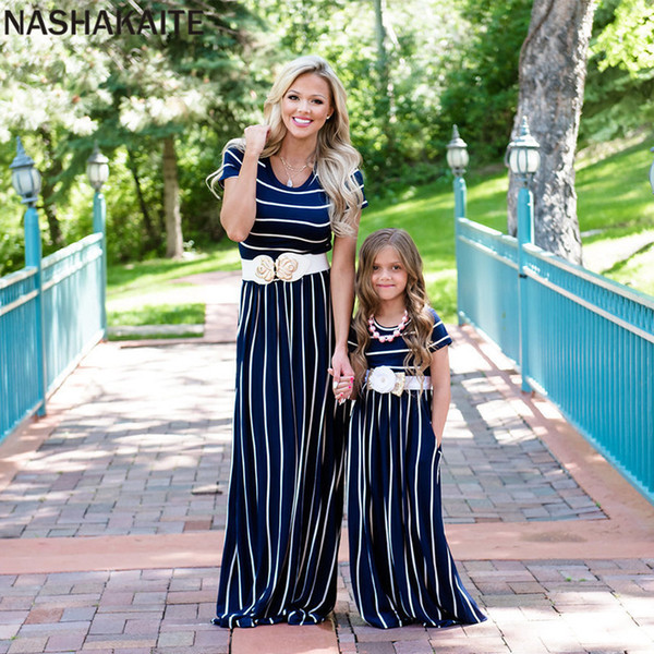 Nashakaite Mother Daughter Dresses Classic Stripe Short Sleeve Ankle-length Dress Mom And Daughter Matching Clothes Family Look Y19051103