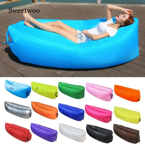 Outdoor Light Sleeping Bag Waterproof Inflatable Lazy Sofa Camping Sleeping Bags Air Bed Adult Beach Lounge Chair Fast Folding