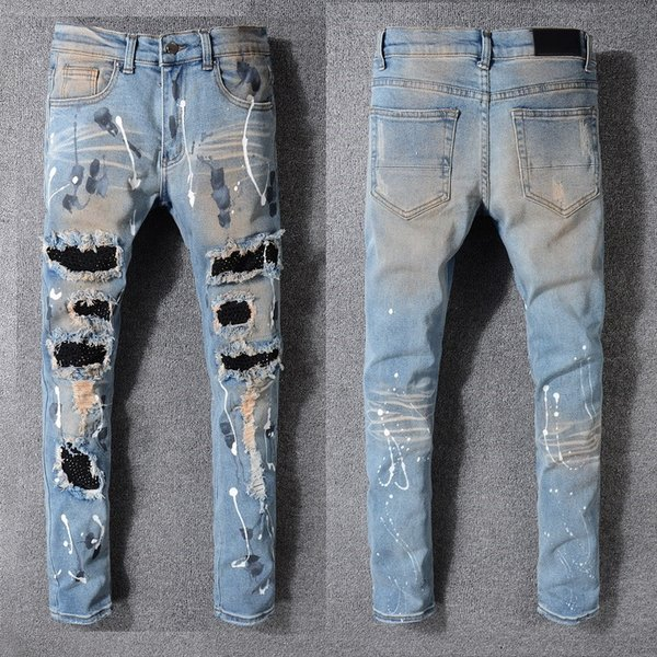 Fashion Men's foreign trade light blue jeans motorcycle biker men washing to do the old fold men Trousers Casual Running Denim pants