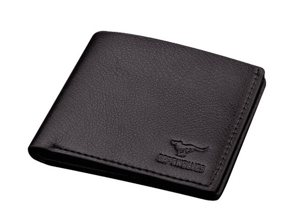 2019 Male Genuine Leather luxury wallet Short Casual designer Card holder pocket Fashion Purse wallets for men free shipping