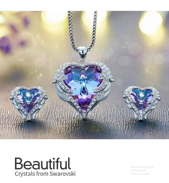 3pcs Jewelry Set Fashion Crystals Angel Wings Pendant Necklaces Earrings Crystal Heart Pendant Romantic Jewelry Set for Women
