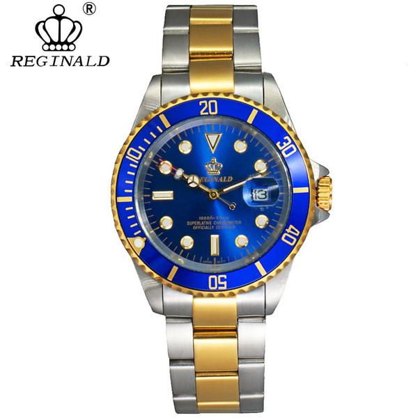 Reginald Uhr Männer Drehbare Lünette Gmt Saphirglas 50 mt Wasser Voller Stahl Sport Mode Blaues Zifferblatt Quarzuhr Reloj Hombre Y19051603