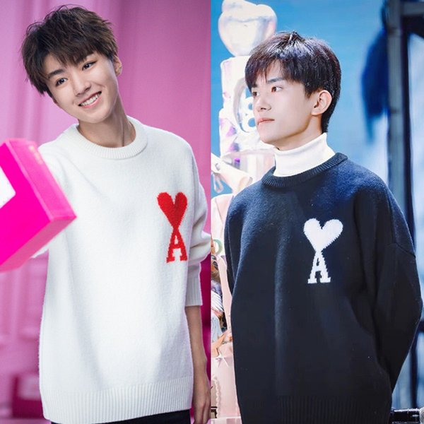 Spring Autumn Men Fashion Korea Style Star Same Cloth Heart A Letter Print O-neck Knitted Sweaters Male Lovers Casual Pullovers