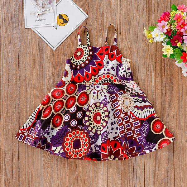 Fashsiualy kinder mädchen party strandkleid kleidung kleinkind kinder baby mädchen böhmischen blume kleid prinzessin strap strandkleider