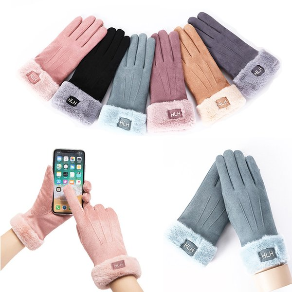 LOLIRYZ Fashion Warm Women Gloves Ladies Girls Cute Cat Bear Snowflake Double Thick Plush Cotton Touch Screen Driving Gloves