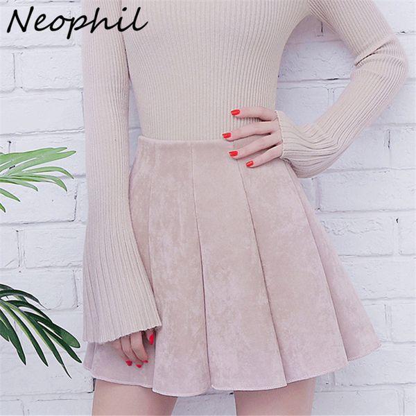 Neophil 2019 Autumn Women Mini Pleated Suede Skirts Preppy Style Falda Plisada High Waist School Girls Skater Short Skirt S1806 SH190824