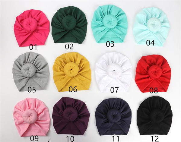 Newest Baby hats caps with knot decor kids girls hair accessories Turban Knot Head Wraps Kids Children Winter Spring Beanie