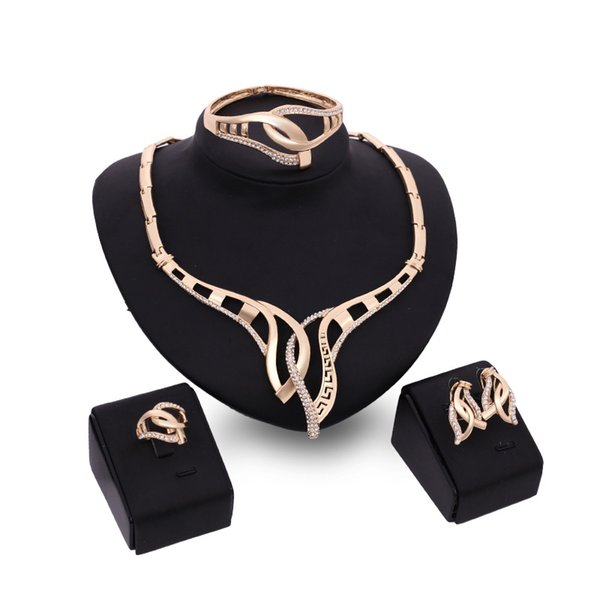 Jewelry Set  Earrings Necklace Bracelet Ring Four-piece Hot Sale High-end Romantic Charm Party Wedding Ornament Gift Set