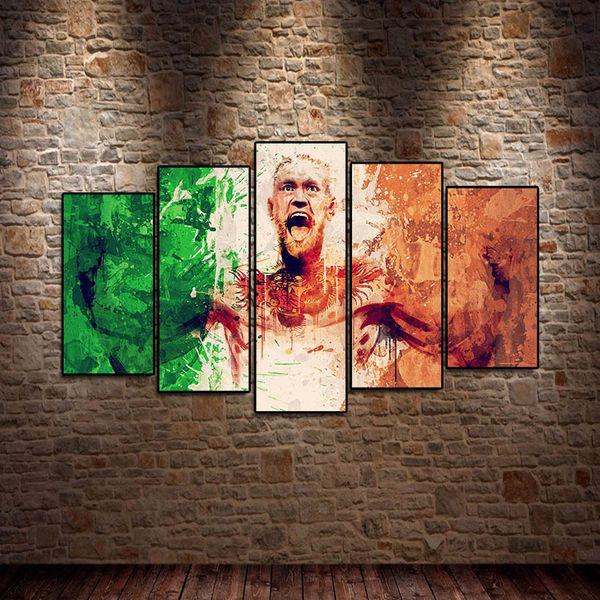 5 Stücke Conor McGregor UFC Sport Leinwanddruck Ölgemälde Poster Wandkunst HD Druck Leinwand Malerei Mode Hängen Bilder