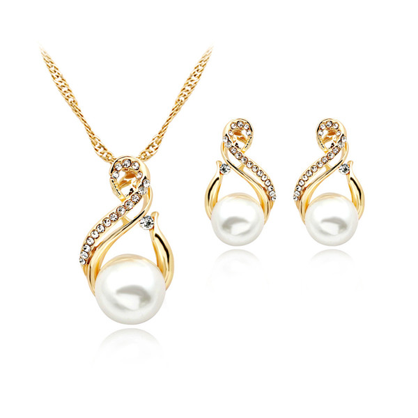top popular Trendy Jewelry Sets Wedding Silver Color Earrings Simulated Pearl Jewelry Set Women Necklace Set Bijoux collier brincos 2020