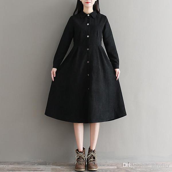 Mferlier 2018 Camisa de invierno mujer otoño vestido Una línea Vestido delgado estilo lindo para mujeres