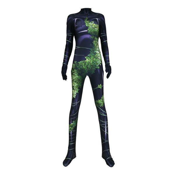 Adult Women Kids Poison Ivy Cosplay Costume Lycar Spandex High Quality Superhero Zentai Party Bodysuit Jumpsuit