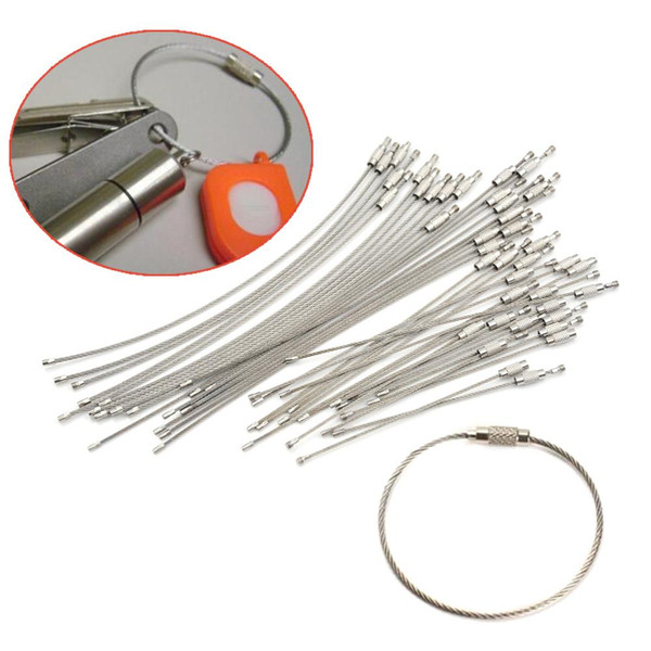 5-20PCS Stainless Steel Wire Keychain Cable Key Ring Chain Outdoor Hiking Style