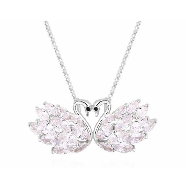 Broche suéter cadena colgante collar de doble propósito romántico Swan Love Joyas multifuncionales