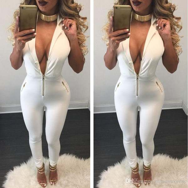 Wholesale- 2016 Women Bodysuit Rompers Womens Jumpsuit Sleeveless Sexy Deep V neck Full Length Bodycon Jumpsuits Overalls for Women macacao