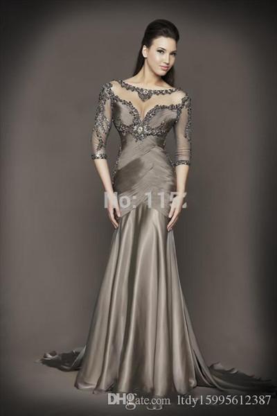 2019 Sexy Backless Sheer Grey Evening Dresses 3/4 Sleeves Beaded Crystal Mermaid Chiffon Formal Dress 215