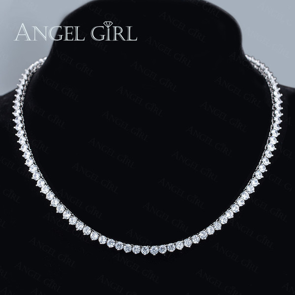 Angelgirl Charms Shiny 18 Inches Three Prong 4mm Zircon Tennis Silver And Gold Colour Necklace For Women And Men Brand Jewelry MX190730