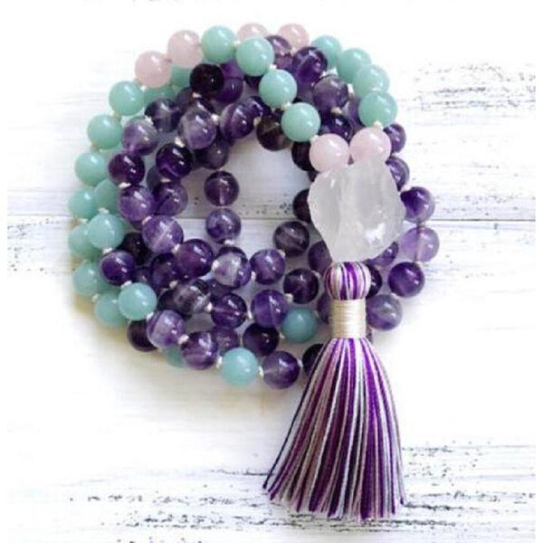 Il cristallo d'avanguardia naturale 8mm di cristallo viola dell'acquamarina 108 borda il braccialetto di Mala o la collana di guarigione di yoga chiaro pendente di cristallo all'ingrosso
