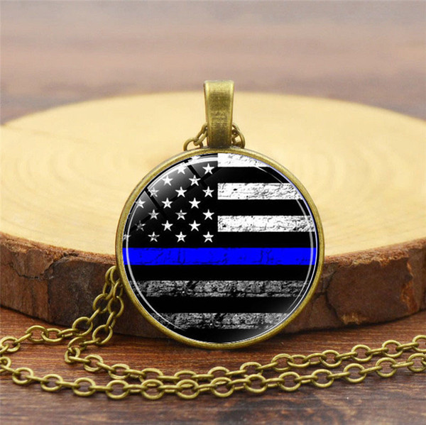 New foreign trade best-selling accessories Fight crime flag time gemstone necklace Fashion alloy glass round resin pendant necklace