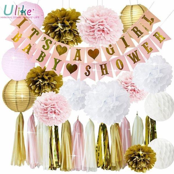 Son Une Fille Bébé Bannière Bannière Papier Pom Et Nid D'abeille Balles Rideau De Pluie Pour Le Mariage Anniversaire Fête Décoration Adulte Q190606