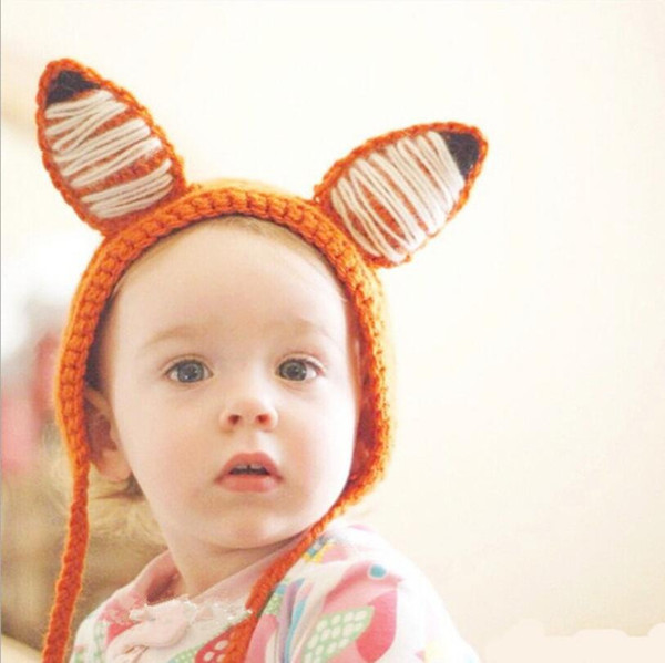 Personal Fox Ear Caps Hand-made double ear wool cap cute cartoon ear protection and heat preservation caps