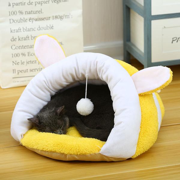 Yurt Terlik Şekli Kedi Evi Kış Kapalı Kedi Uyku Tulumu Ile Pet Sıcak Iplik Şekli Kulak Köpek Evi