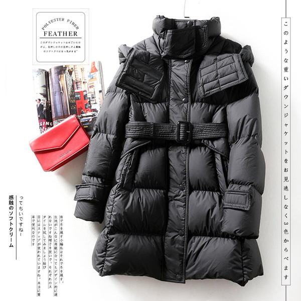 winter women down coat with hood and belt soft fluffy medium-length white down jacket contracted temperament