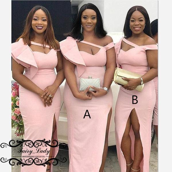 Light Pink Satin Mermaid Abiti da damigella Lungo 2019 Ruffles One Shoulder Sweetheart Neck Dress Dress Maid Of Honor per le donne
